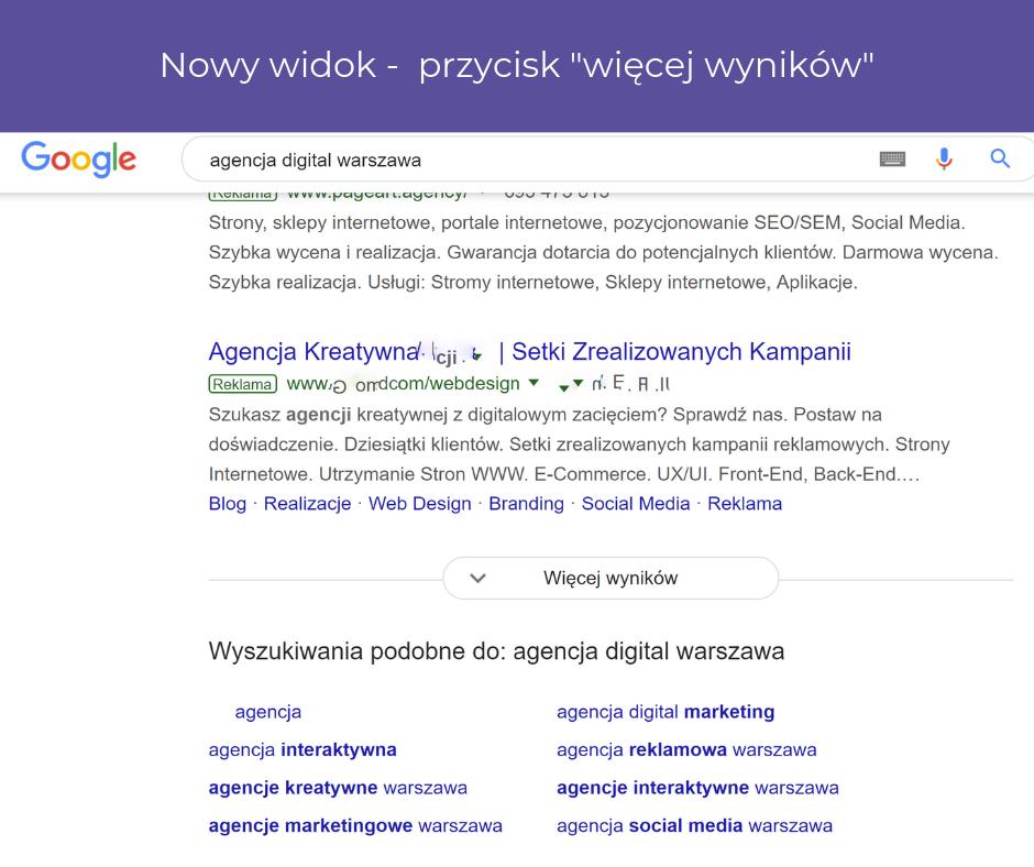 """Przycisk """"więcej wyników"""" wwyszukiwarce Google"""