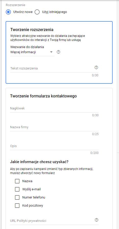 google ads rozszerzenie formularza